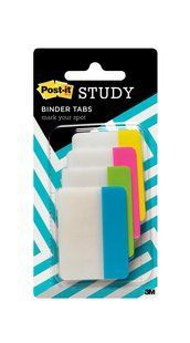 Easily separate notes by chapter in your three ring binder with Post-it® Study Binder Tabs