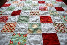 Aqua and Red Quilt by Filoknits (Andrea), via Flickr