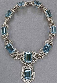 Queen Elizabeth's aquamarine, diamond, and platinum necklace.