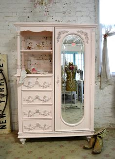 Painted Cottage Chic Shabby Pink French Armoire