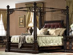 California King Size Platform Bed with canopy   Antique Chestnut Carved King Size Canopy Bed w Leather   eBay