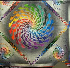 Byrne's Spiral by Beth Nufer and Clem Buzick, quilted by Clem Buzick.  1st place, Innovative Large Mixed, 2014 Road to California.  Photo by Quilt Inspiration