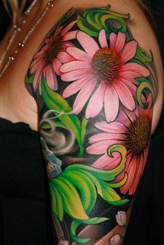 women tattoo, tattoo half, half sleev, womans sleeve tattoo