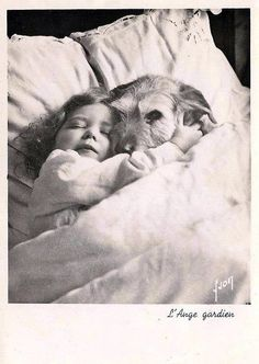 vintage postcards, little girls, puppies, friends, dogs, pet, sweet dreams, kid, guardian angels