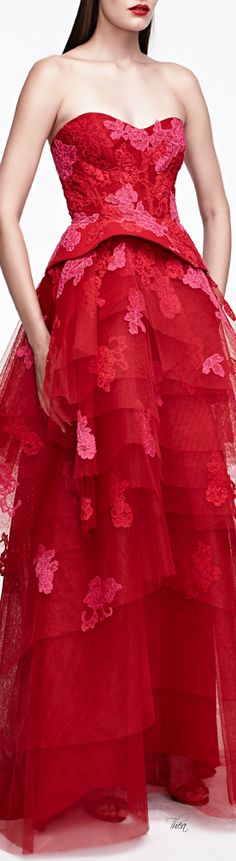 Monique Lhuillier ● SS 2015, Lace Embroidered Strapless Gown With Tiered Skirt