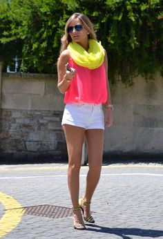 Summer Outfit:   NOTE: Neon colors are accented by the white shorts.