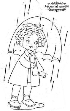 vintage umbrella girl embroidery pattern