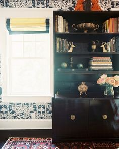 -- decor, interior design, bookshelf styling, bookcases, the office, black cabinets, shelves, roman shades, live room