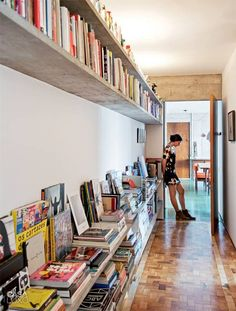 interior design, book displays, at home, home libraries, casa, book storage, shelving units, vinyl decor, hallway