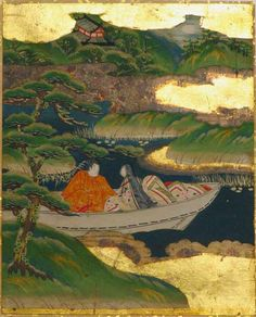 """Japanese Tosa School album leaf painting depicting Chapter 51 Ukifune (A Boat Upon The Waters) from the """"The Tale of Genji"""" where, Niou takes Ukifune to the Islet of Oranges the scene depicted in gold mist perspective of two figures in a boat with a noble pine tree in the foreground and the rooftop of the castle off in the distance, all painted in ink and mineral pigments on paper with gold leaf clouds and details."""