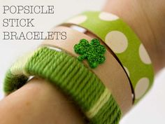 DIY Popsicle Stick Bracelets for St. Paddy's Day making bracelets, idea, sticks, st patricks day, kids, diy bracelet, stick bracelet, popsicl stick, kid crafts