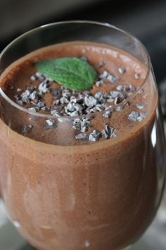 Peppermint patty: 1 tsp fresh mint, 1 scoop chocolate Shakeology, 1 cup almond milk