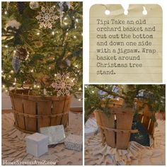How to make a basket tree stand and other easy Christmas decorating tips & tricks.