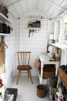 i don't need sewing space, but a guy should have a shed to invent in. in my case, somewhere to write. draw. photograph. this looks like a garden shed, beautifully converted for creating...