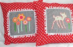 Set of 2 pcs Red Polka Dots Bambi and Flowers by chomelkidswear