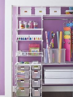 A craft closet? Yes, please! So colorful and organized!