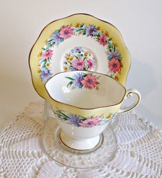 Tea Cup and Saucer Vintage Teacup and Saucer Foley Bone China Cornflower. $20.00, via Etsy.