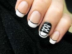 Learn how to create cute little Converse Shoes on your nails!.