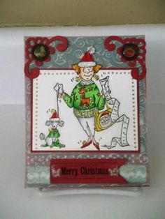 Art Impressions Christmas Belle (Sku#T3031) with her poodle. card.