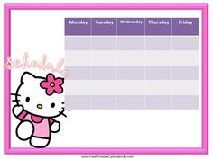 Hello Kitty weekly calendar template free
