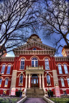 Old Lake County Courthouse in downtown Crown Point, Indiana. This historic courthouse is a prominent landmark in Lake County and served as the Lake County government center from 1878 to 1974. Today, the courthouse is home to the Courthouse Shops, a group of stores and galleries that are open to the public.