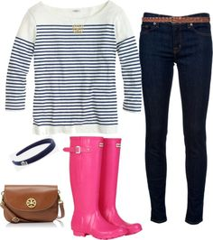 Pink Hunters by southern-and-preppy featuring a brown purse ❤ liked on PolyvoreJ.Crew sailor shirt / J Brand mid-rise jeans, $270 / Hunter footwear, $110 / Tory Burch brown purse / 18k necklace / Lacoste sport headband / Zara genuine leather belt