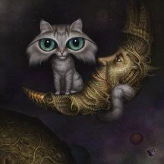 cats, cat art, artists, exhibitions, moon, behance, night meet, kitti, illustr