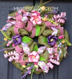 Spring Burlap Deco Mesh Wreath with Ribbons