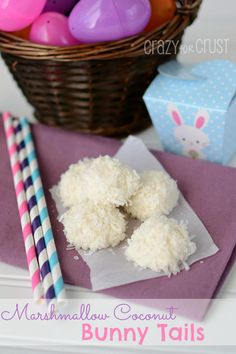 The Frugal Girls: Marshmallow Coconut Bunny Tails Recipe by Dorothy from CrazyForCrust.com