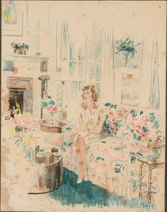 Cecil Beaton (English, 1904-1980),Portrait of Margaret Duke, 1944, Watercolor/Pencil on Paper