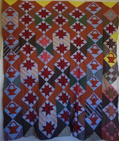 Quilt TOP 1800's, Baskets, Stars- Great calicoes from cowhollowcollectibles on Ruby Lane