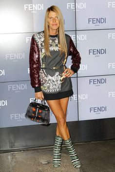 MFW MILAN FASHION WEEK Front Row Fendi SS 2014 ANNA DELLO RUSSO PRINT SWEATER SWEATSHIRT DRESS SEQUIN SLEEVES BELTED FUR TOP HANDLE BAG STRIPE PYTHON GREEN WHITE BLACK ANKLE BOOTS RED NAILS REPOSSI RING