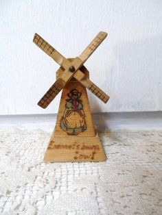 Vintage Wooden WINDMILL Solid Wood Handmade DUTCH Girl Old Souvenir via Orphaned Treasures Etsy
