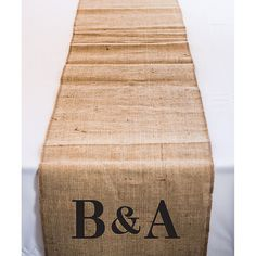 Personalized Long Burlap Table Runner with Equestrian Monogram