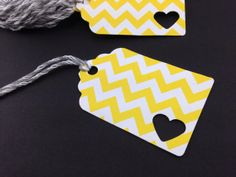 Yellow Chevron Tags Perfect for Favor Tags, Gift Tags, Price Tags, Jewelry Tags, Organizing Tags, Wedding Favors, Birthday Party Favors! on Etsy, $5.00