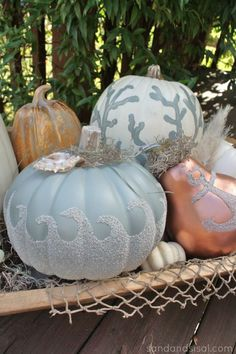 Coastal Fall Pumpkins from Sand and Sisal