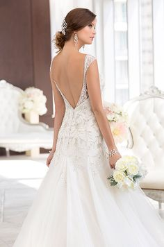 Beaded open back wedding dress by Essense Of Australia, Spring 2014