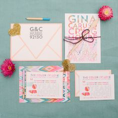 colorful wedding invites, photo by Joielala, invitations by Pitbulls & Posies http://ruffledblog.com/artsy-san-diego-wedding #weddinginvitations #stationery