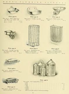 Soap dishes and other bath items from 1907 Mott's plumbing catalog.