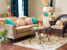 Sea of Turquoise in 12 Ways to Bring Color to a Room With Pillows from HGTV