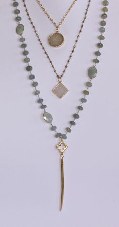 stone necklaces, layer necklac, lab