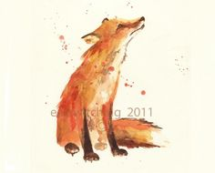 Watercolour Fox Art Print - Trusting Eyes Tattoo Idea... It's official: My fox tattoo is going to be a watercolor one!