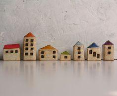 Handmade polymer clay houses, set of 7
