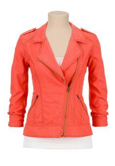 zip jacket, coral jacket