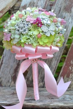 Deposit on a spring flower brooch bouquet -- made-to-order wedding bridal bouquet. $175.00, via Etsy.
