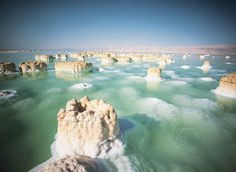 Columns of salt rising from the extremely saline waters of the Dead Sea.