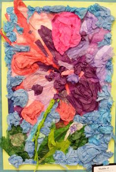 art blog, collage art, tissue paper flowers, paper work, paper projects, art education, paper sculptures, elementary art, tissue flowers