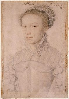ELISABETH DE VALOIS queen of Spain PROVENANCE Francois Clouet ca 1559 Chantilly museum photo RMN Note BROWN eyes. Portrait is annotated as being of Elisabeth de Valois by Clouet, 1558,  3rd wife of Philip II. Portrait done at French court when she was about 12 years old.She has brown eyes here - she was considered to look at lot like her brother Charles IX king of France