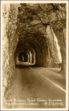 Mitchell Point tunnel on the historic Columbia River Highway in Oregon. A popular route in the 1920's, sadly permanently destroyed in 1966.