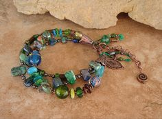 Boho Southwest Jewelry Colorful Triple Strand by BohoStyleMe, $89.00